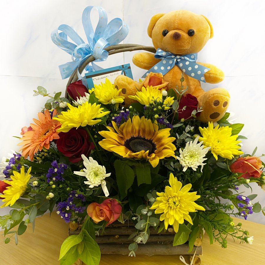 Basket of flowers for a boy